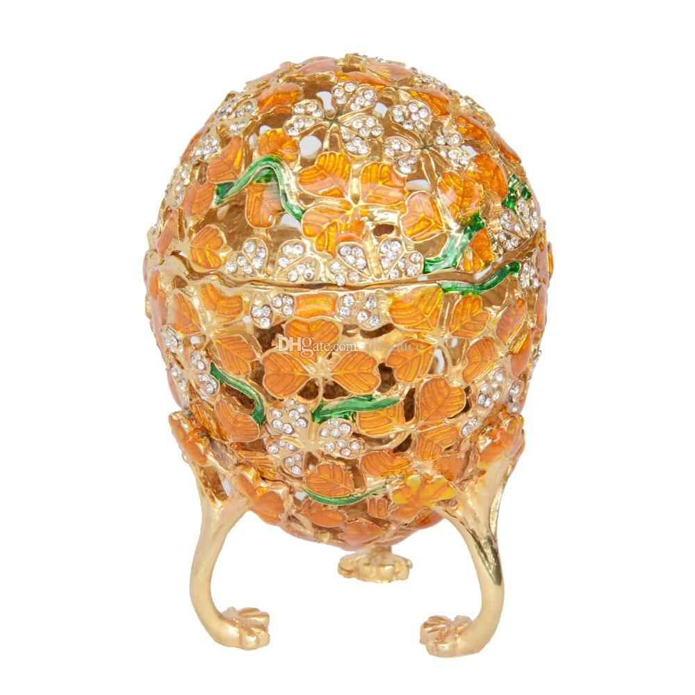 2018 Faberge Egg Box Crystals Trinket Pill Jewelry Box Easter Gold