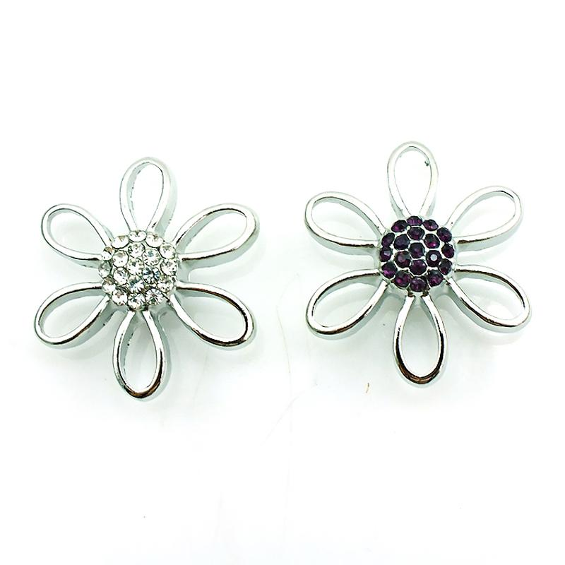 Fashion 18mm Snap Buttons Rhinestone Pierced Flower Ginger Clasps Noosa Interchangeable Jewelry Accessories NKC0033