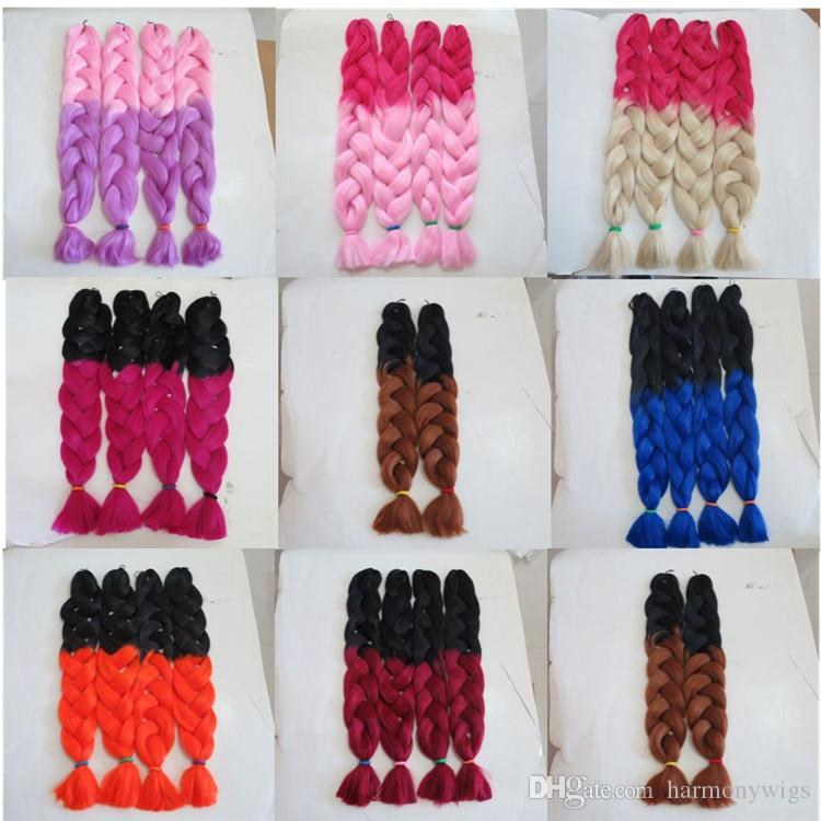 Kanekalon Jumbo Braid Hair Senegalese Twist 82inch 165g Pink&Light Purple Ombre two tone color xpression synthetic Braiding hair extensions