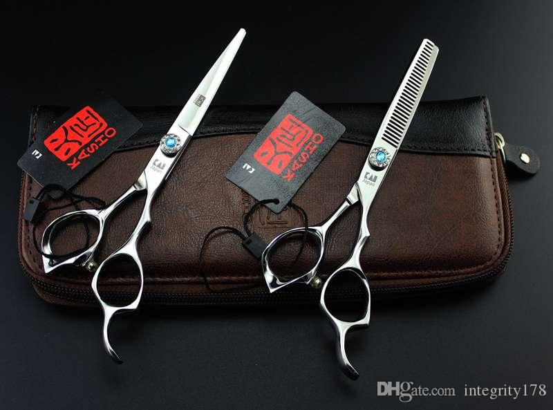 """Kasho Series Offset 6.0"""" 9cr13 professional hair scissors hairdressing hair cutting scissors /Thinning scissors for right hand"""