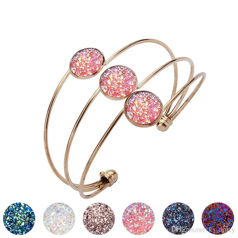 Fashion Drusy Druzy Bangle Cuff Silver Gold Alloy Resin Geometry Imitation Lava Stone Bracelets For Women Lady Jewelry