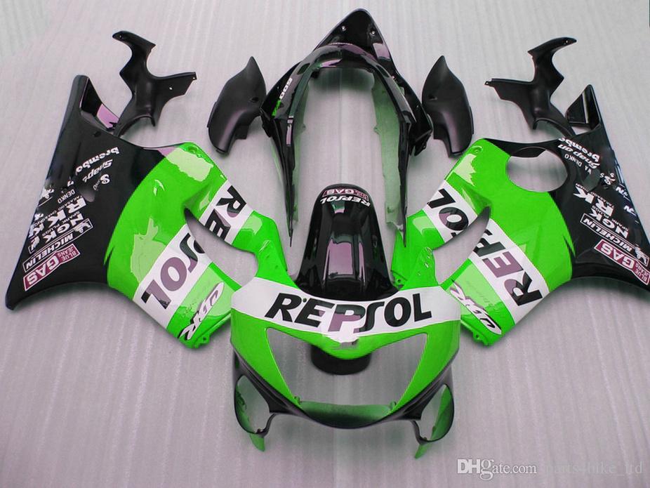 Perfect green REPSOL Fitment Partes del cuerpo para Honda CBR 600 F4 Custom fairings 1999 2000 fairing kit CBR600 F4 99 AT