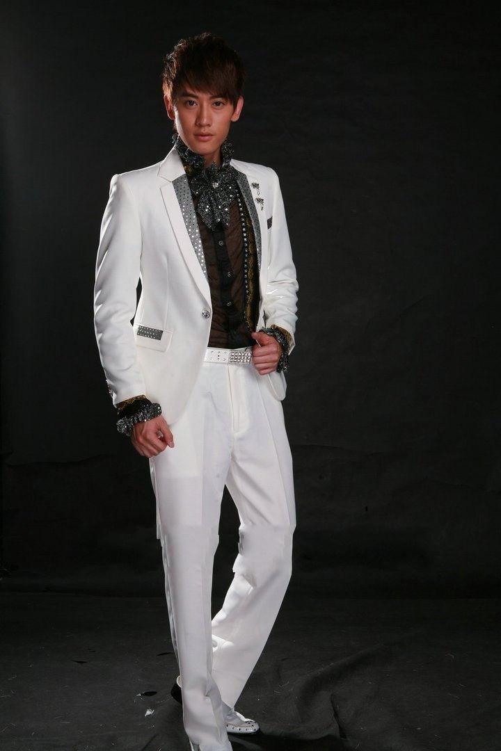 Wholesale - The latest high quality handsome white gun collar a button suit the groom suit/best man suit/work suit jacket + pants