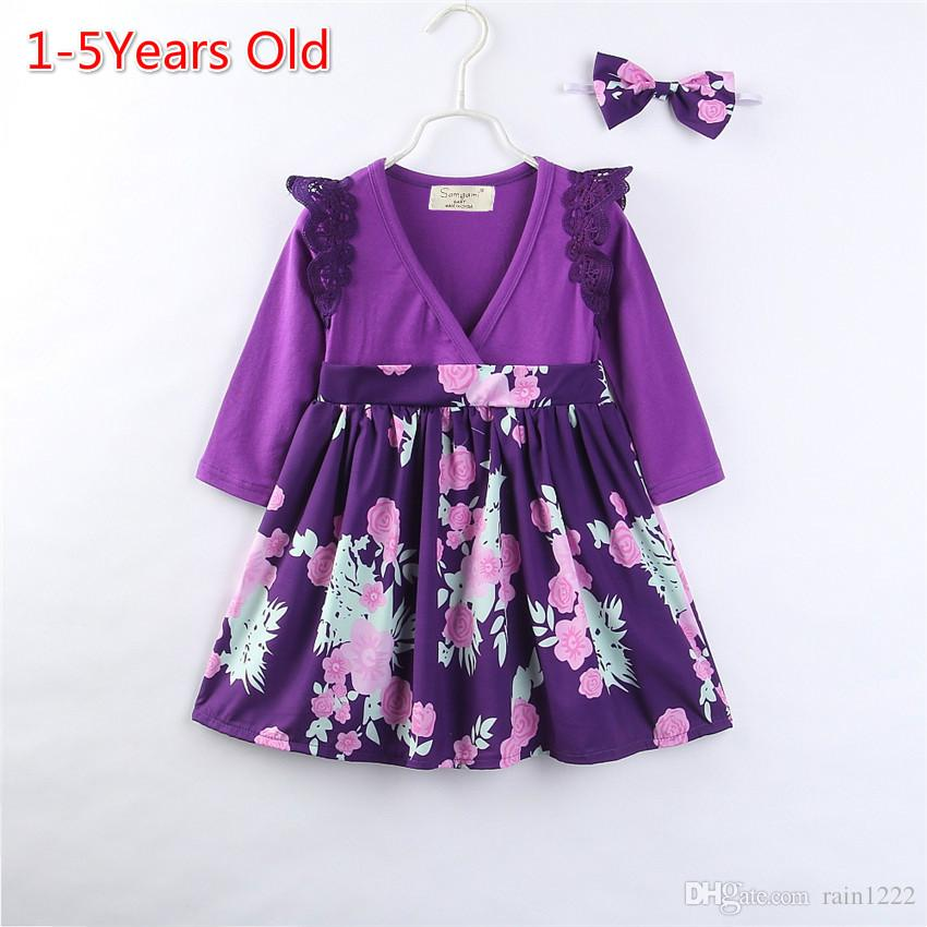 Girls Princess Dresses Long Sleeve Pleated Dress With Hairband Purple Lace Shoulder Floral Pattern Dress Kids Baby Cotton Panelled Dresses