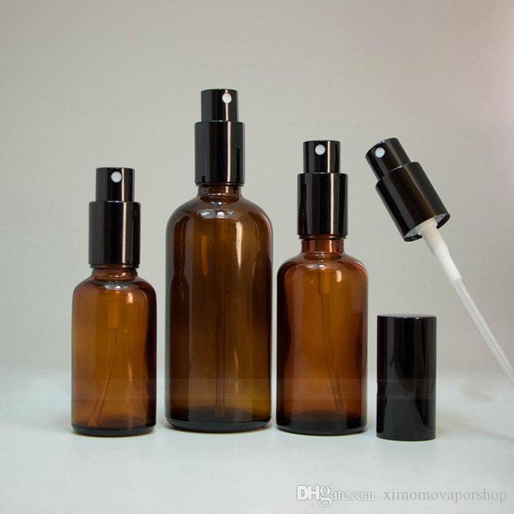 Großhandel 30ml 50ml 100ml Braunglas Sprühflaschen Für Eliquid Öl Parfüm mit Black Cap Sprayer Pump / / Auf Lager Verkauf