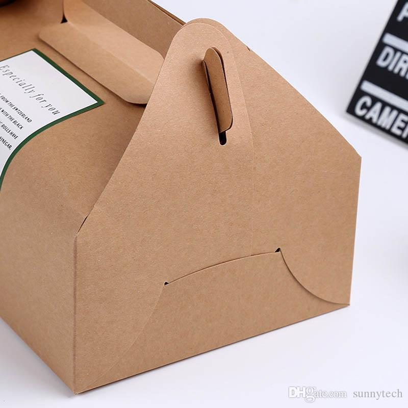 big size 20*15*8cm Boutique Cake Food Kraft Paper Box With Handle Wedding Party Favor Candy Gifts Packaging Boxes Supplie LZ0750