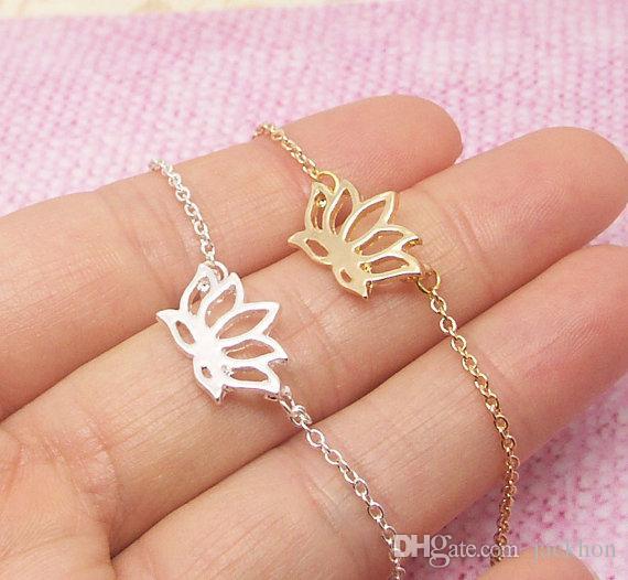 - B012 Fashion Gold Silver Plant Lotus Bracelets Tiny Lotus Flower Bracelets for Prom Petal Bracelets Jewelry for Weddings