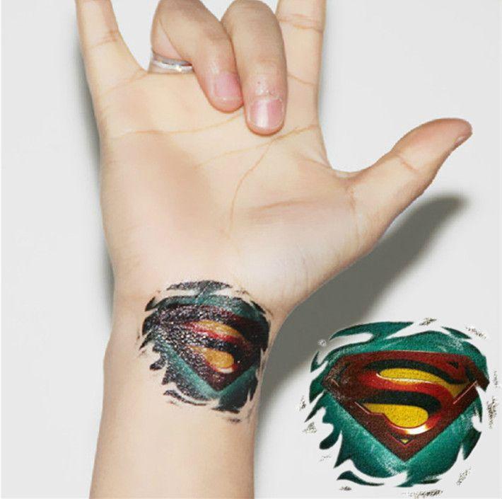 Superman logo waterproof temporary tattoo stickers hand decoration for man cool decoration temporary tramp stamp temporary wedding tattoos from phoenix5
