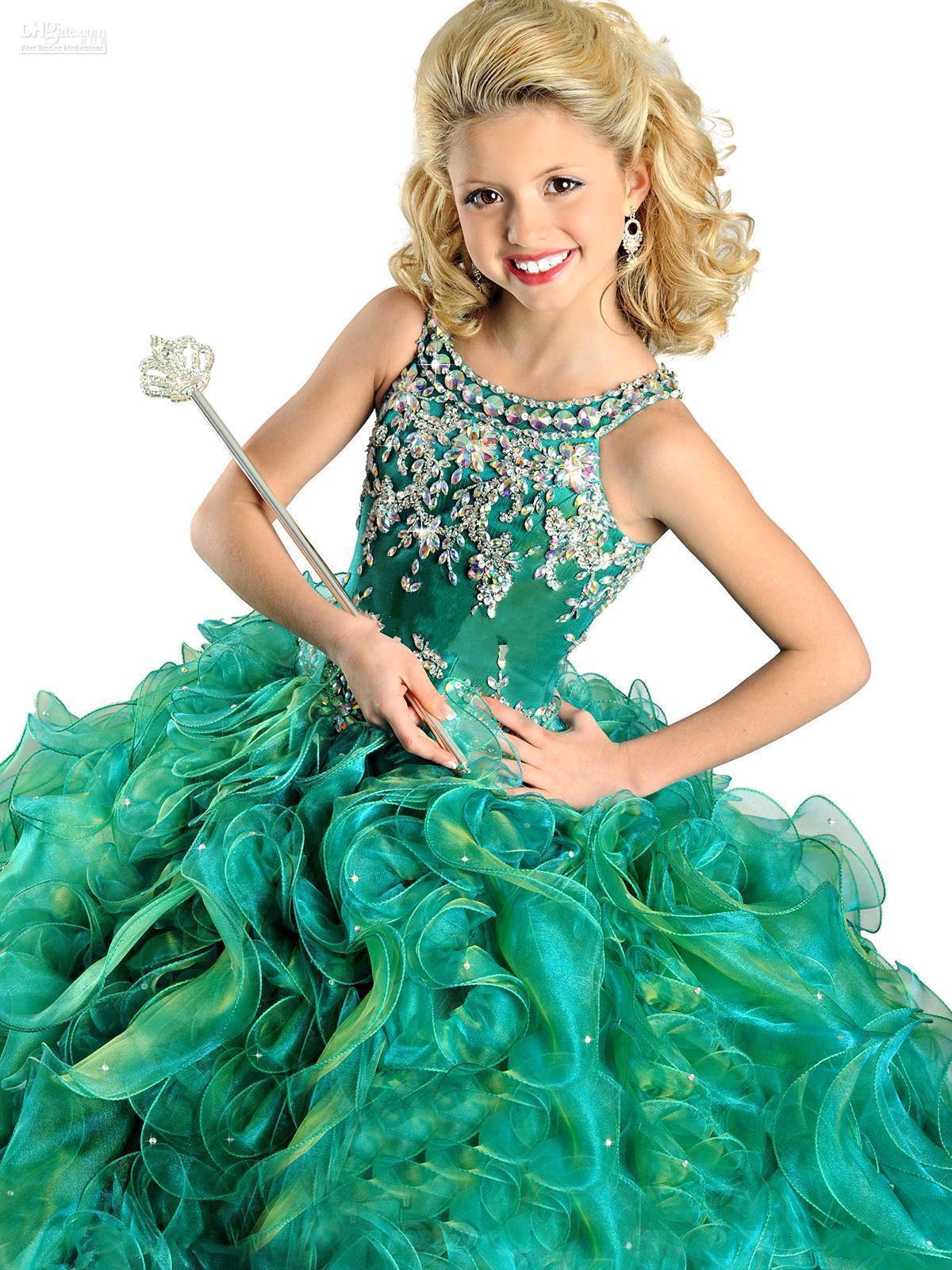 2016 Muhteşem kızın Pageant elbise Güzel Ekip Boyun ile Boncuk Ruffles Organze Tam Boy Çocuk Rhinestones Doğum Günü Partisi Törenlerinde RG6568