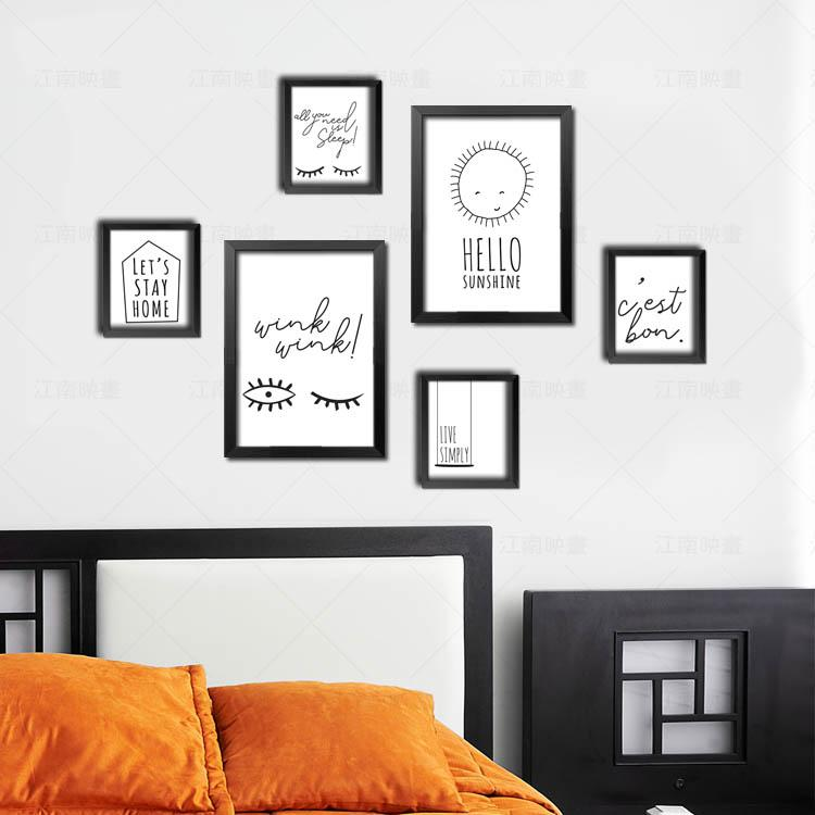 2018 Abstract English Black And White Paintings Simple Creative Decorative  Painting Paint The Bedroom Living Room