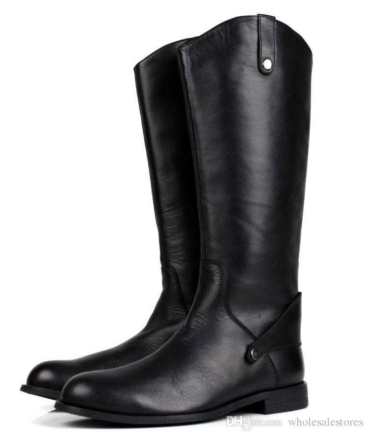 Fashion Black Knee High Mens Boots Genuine Leather Riding Boots Mens