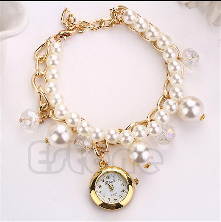 Fashion Pearl Watches Bracelets Crystal Rhinestone Chain ...