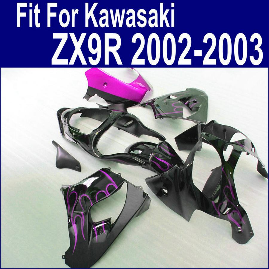 Motorcycle parts for Kawasaki ZX 9R 2002 2003 high grade fairing kit ninja purple flames in black ZX-9R 02 ZX9R 03 PP59
