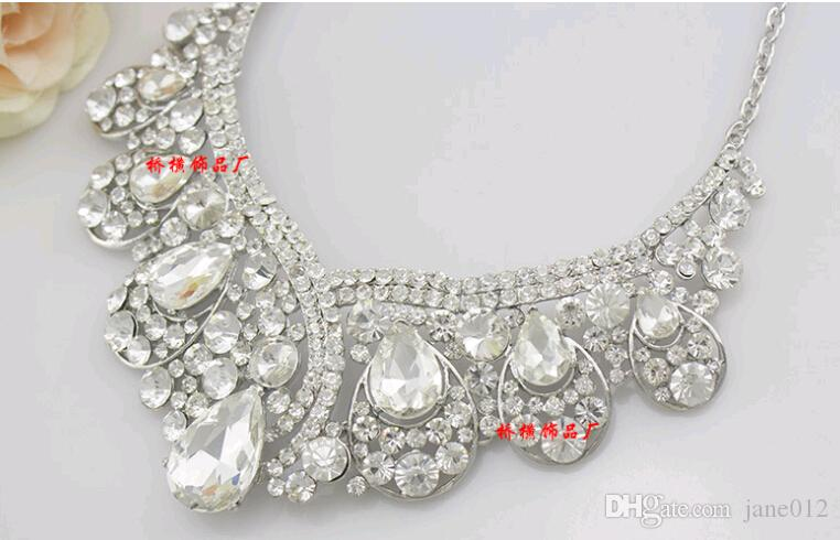 New Stone Bride Wedding Jewelry sets Earrings Necklaces Waterdrop Crystal Women Dresses Accessories SetEarring+Sautoir for Party