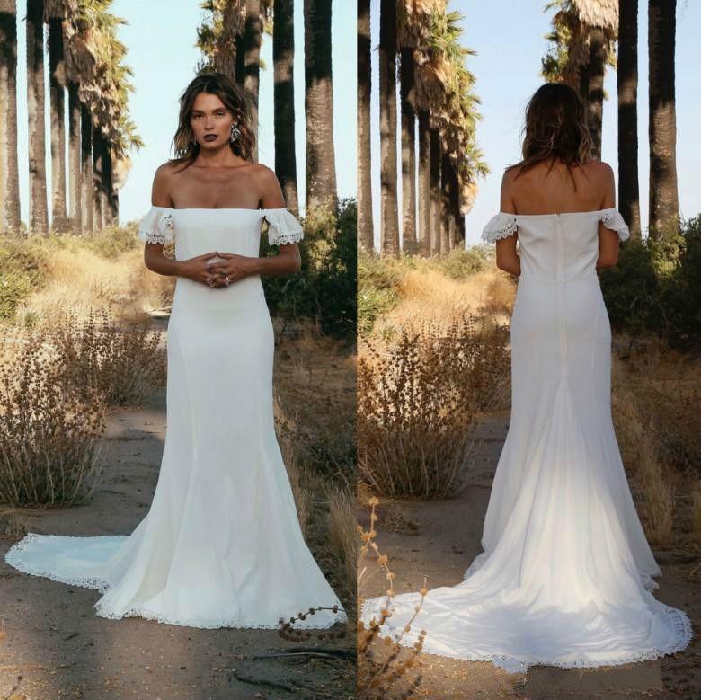 2dbba223248 Discount Bohemian Off Shoulder Wedding Dresses Boho Hippie Chiffon Ball  African 2018 Custom Vestido De Novia Formal Bridal Gown Plus Size Arabic  Weddings ...