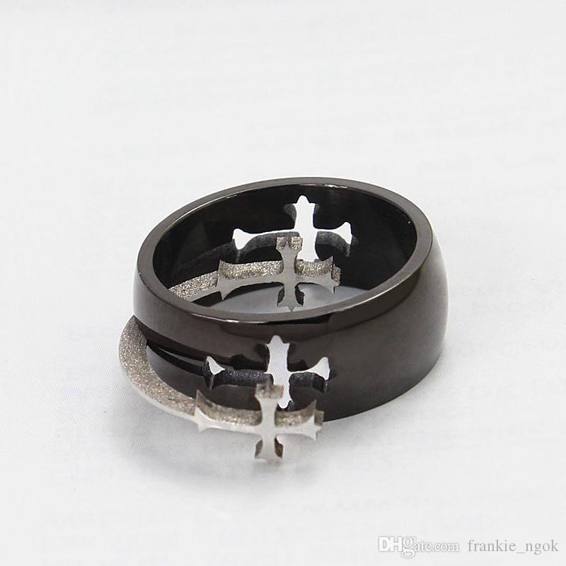 티타늄 스틸 실버 크로스 남성과 여성의 패션 반지 블랙 8mm 크기 7-14