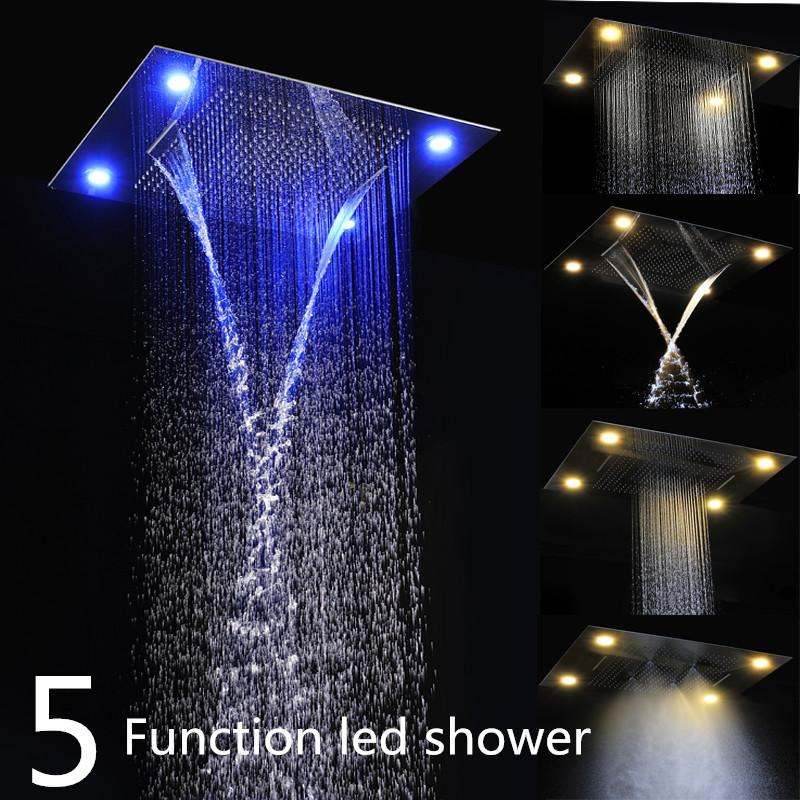 Lovely 2018 Luxury Embeded Ceiling Rain Shower Heads Multi Funtion 600*800mm  Remote Control Led Rainfall Waterfall Massage Bathroom Shower Heads From  Jmhm, ...