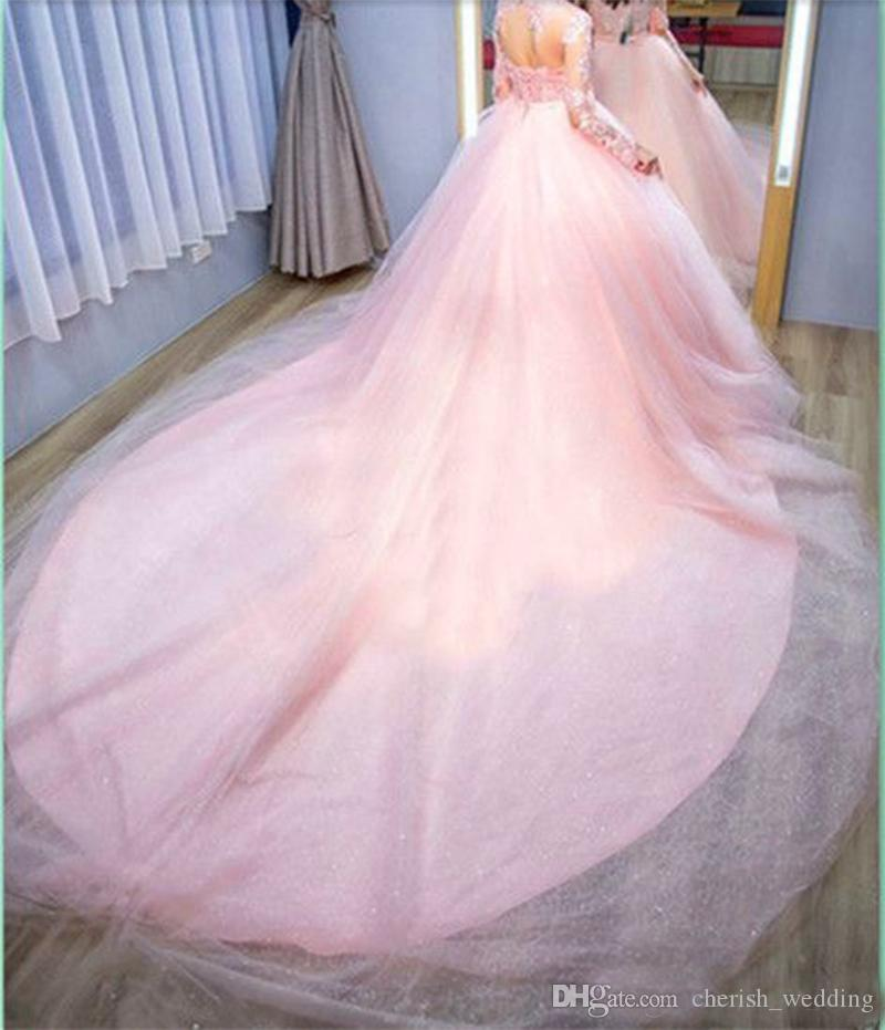 Pink Ball Gown Evening Dresses Lace Appliques With Long Sleeves Tulle Illusion Bodice Long Train Formal Prom Party Dress Wear Buttons Back