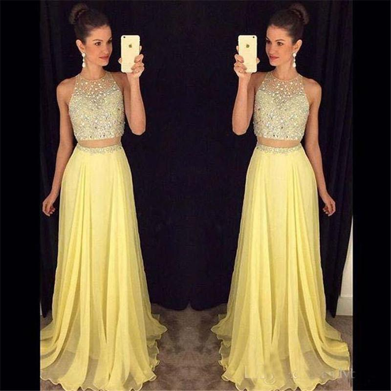 Cheap Sexy Two Pieces Long Prom Dresses Ladies Crystal Bead Yellow Sheer Neck Beaded Collar Formal Evening UK Cocktail Party Dresses BA0605