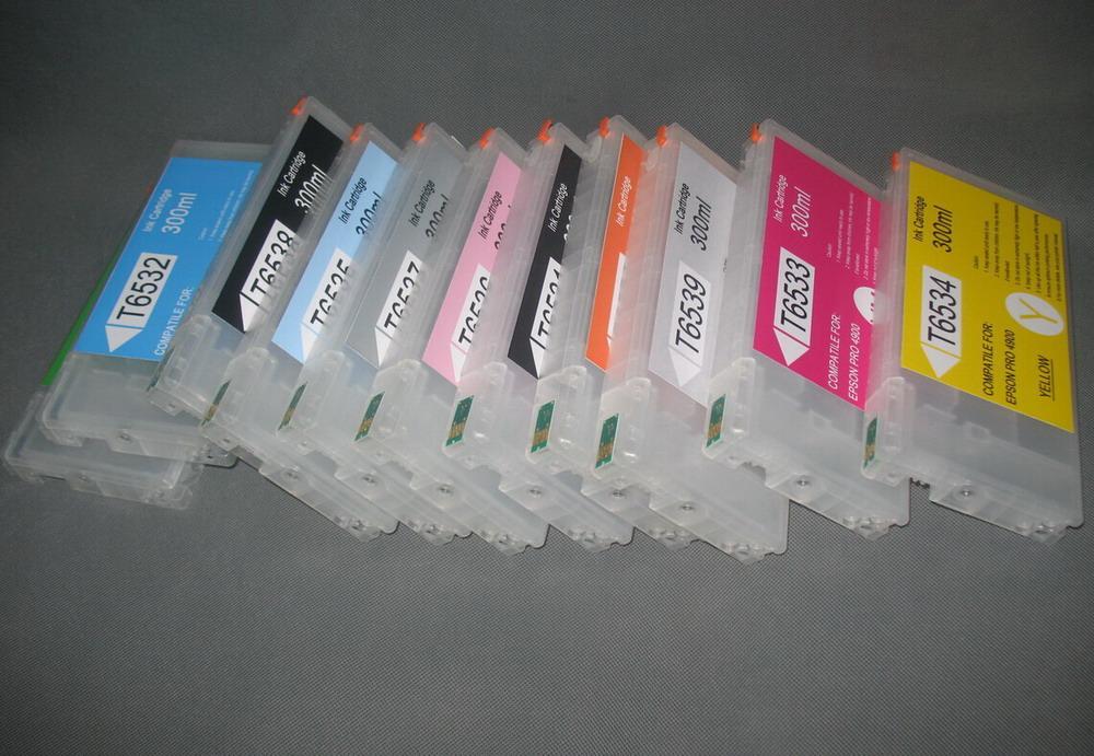 300 ml wiederaufladbare Tintenpatronen mit Auto-Reset-Chip für Epson PRO 4900 Plotter 11 Farbe
