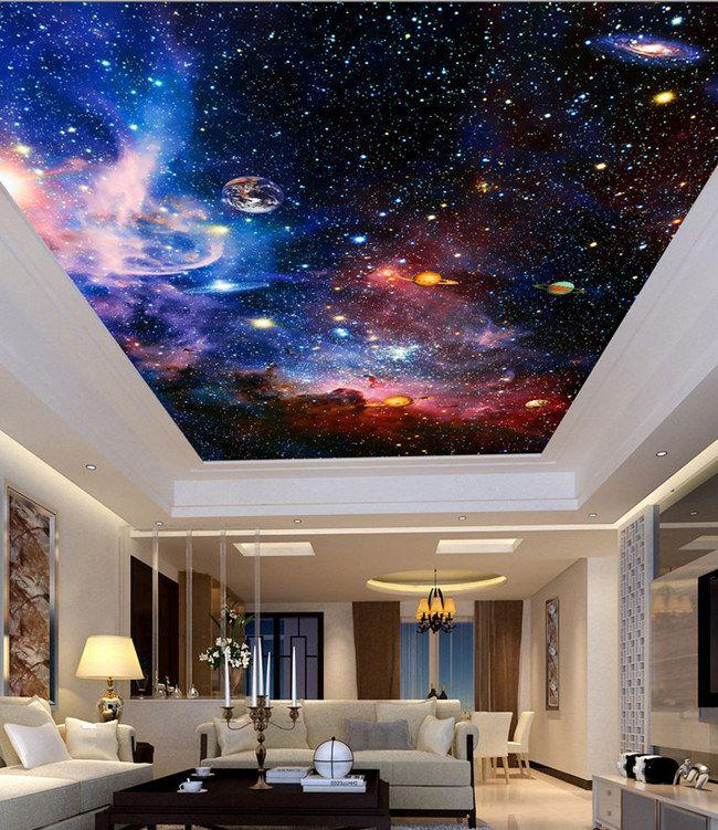 Bedroom Ceiling Tv Bedroom Bench Plans Best Bedroom Ceiling Designs Bedroom Furniture Wood: Compre Murales Personalizados 3D Nebulosa Estelar Cielo