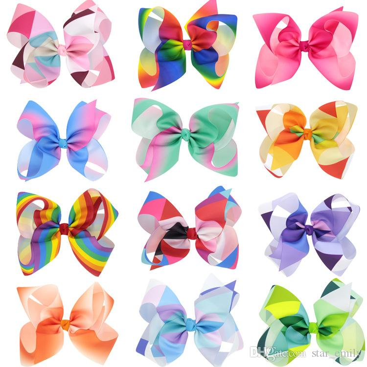 Christmas Rainbow Jojo Bows For Girls Siwa Style Hair Bows Christmas ...