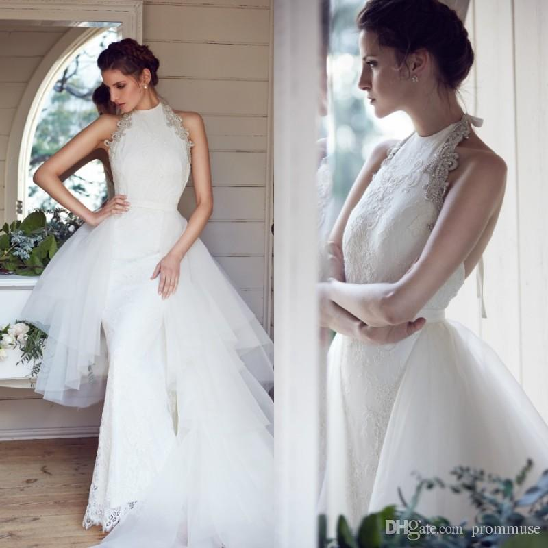 Over Skirts Wedding Dresses Unique Design 2017 High Neck Mermaid Karen Willis Holmes Open Back Floor Length Beading Lace Bridal Gown Dress