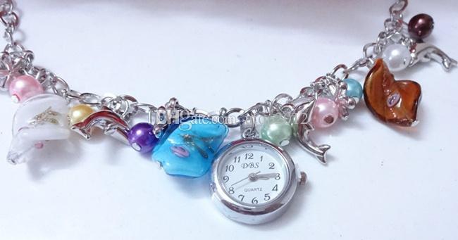 Cheap Multicolor Unique Design Quartz Hour Link Chain Fish Plum Blossom Charm Bracelet Dress Pearl Wrist Watch for Women