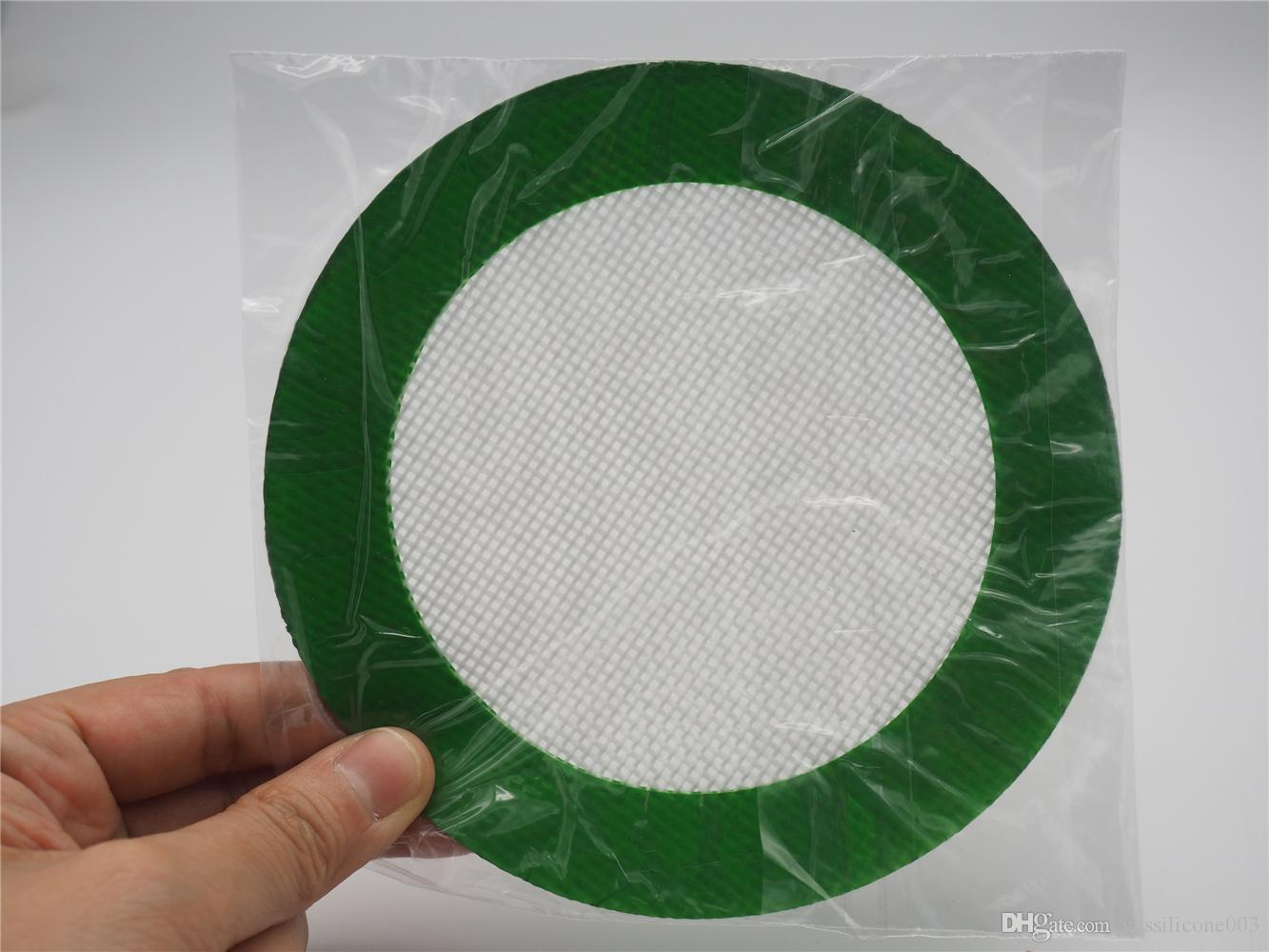 Food Grade Silicone Non-Stick Oil and Concentrate Pad Backing Mat Round Dabber Sheet Green 5'' Wholesale