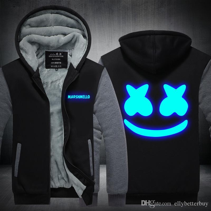 f5c4f7542070 2019 Marshmello Cashmere Hoodie DJ Skrille New Winter Thicken Fleece Cotton  Zipper Casual Coat Jacket Super Warm Sweatshirt USA EU Size Plus Size From  ...