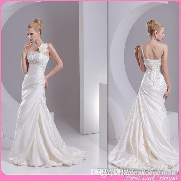 Mexican Modern Simple Ivory Satin Bridal Gowns Mermaid One