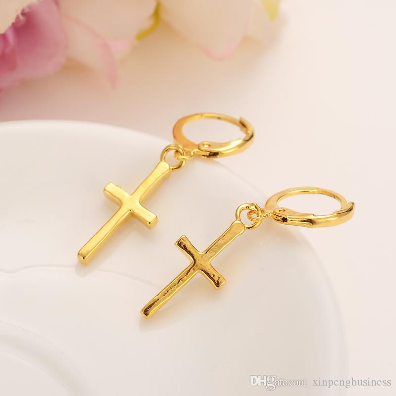 Special Design Christian Vogue Womens True Real 24K Solid Fine Yellow Gold GF Crucifix Cross Timeless Charm Earrings