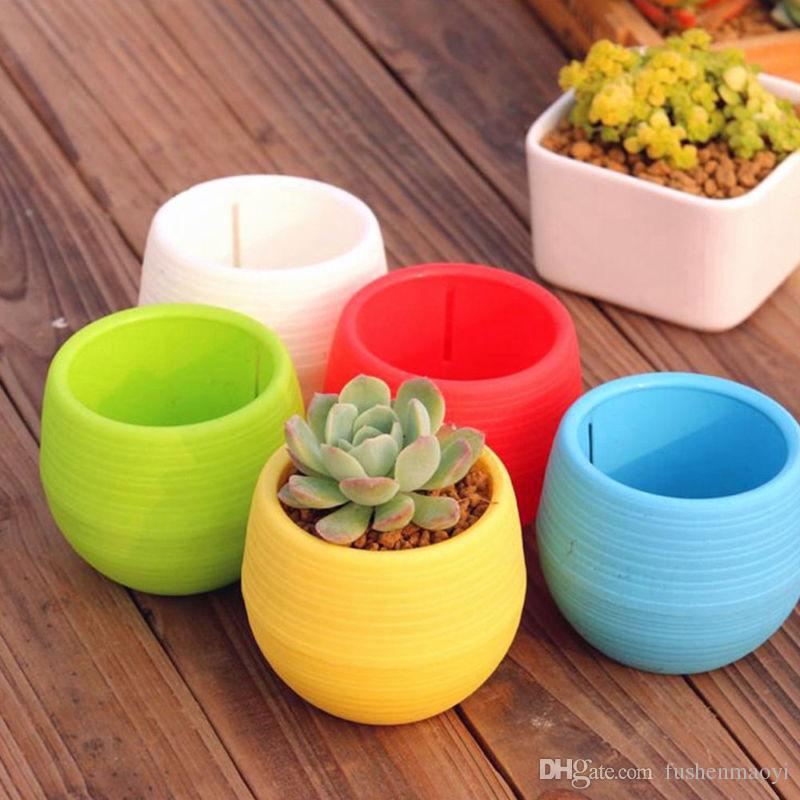 Small Cute Round Home Garden Office Decor Planter Plastic Plant Flower Pots free match color together
