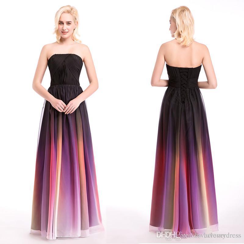 Elie Saab Ombre Strapless Prom Klänningar Nya 3 stilar Platser Kvällar Chiffon Formell Klänning För Billiga 2020 Bridesmaid Occasion Dress