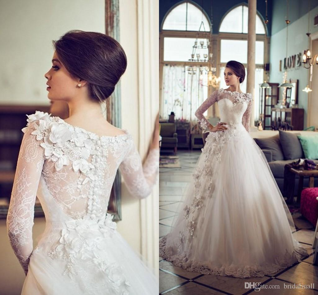0f51f99679b5 Discount Illusion Neck 2019 A Line African Wedding Dresses Long Sleeves  Sheer Button Back 3D Flowers Appliqued Tulle Bridal Gowns Vestidos De Novia  Prices ...