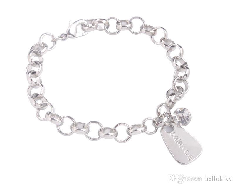 New arrive Fashion alloy charm Bracelet Silver Tone Metal Assorted word Rhinestone Charm Chain Bracelet