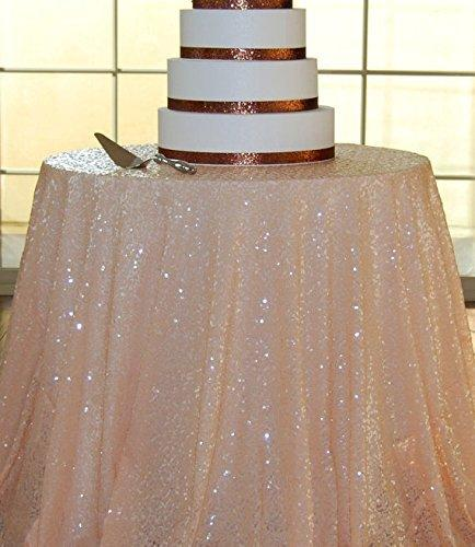 108 Round Peach Sequin Tablecloth Sequin Wedding