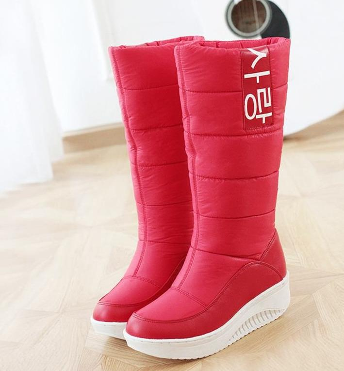 7b854a464bef SIZE 35 44 Ladies Snow Boots Wedges Heels Slip On Women Winter Boots Fur  Inside Mid Calf Boots Sweet Shoes Shoes Online Combat Boots From  Qianduoduoduoduo