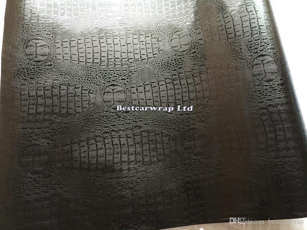 أسود التمساح الجلد الفينيل التفاف مع الهواء الإصدار كروكو التفاف سيارة التفاف السينمائي ل تصفيف السيارة غطاء ملصق شحن مجاني حجم 1.52x30 متر / لفة