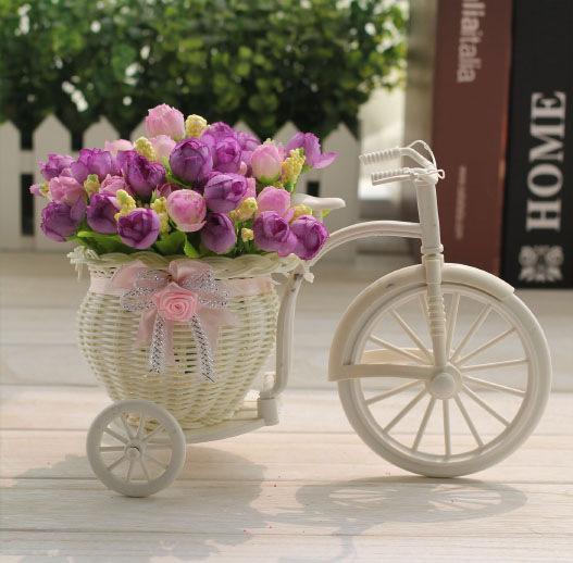 Flower Vase White Tricycle Bike Design Flower Basket Storage Container Party Weddding Decoration Home Decor knit Bike Photo props background