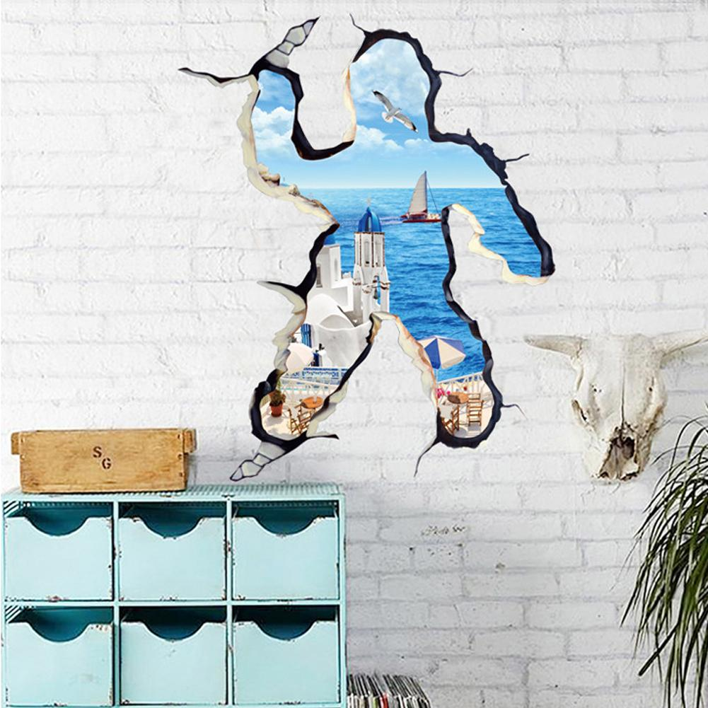 Wall stickers extra - Extra Large 3d Sticker Wall Decoration Modern Mediterranean Creative Landscape Vinyl Sticker 3d Decorative Wall Art Home
