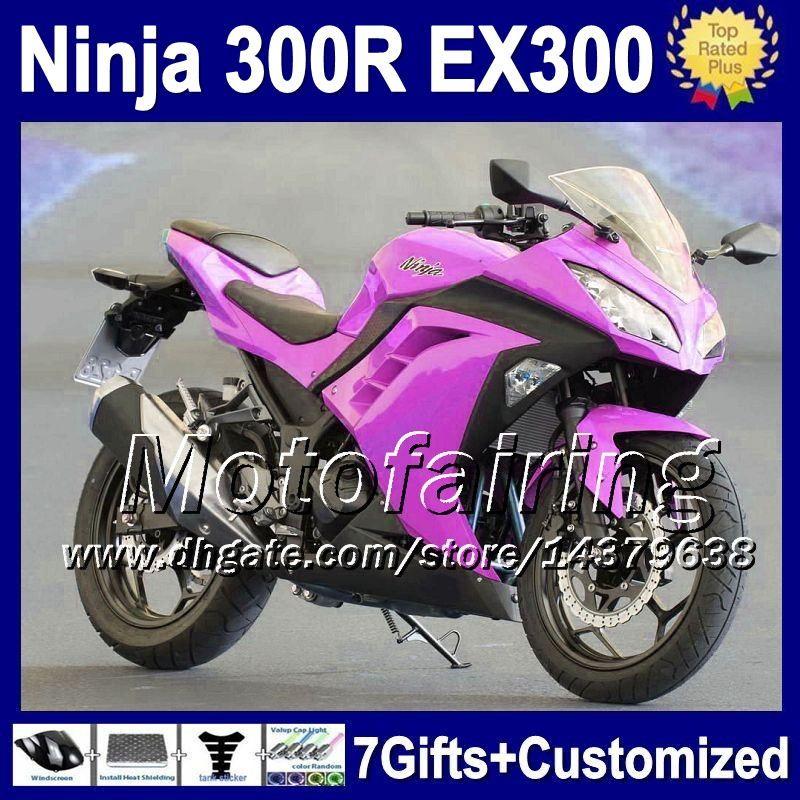 7gifts + Injection Pour Purple stock KAWASAKI NINJA 300 300R 13 14 F2151 ZX300R EX300 13-14 EX 300 ZX 300R EX300R NOUVEAU Purple 2013 2014 Carénage