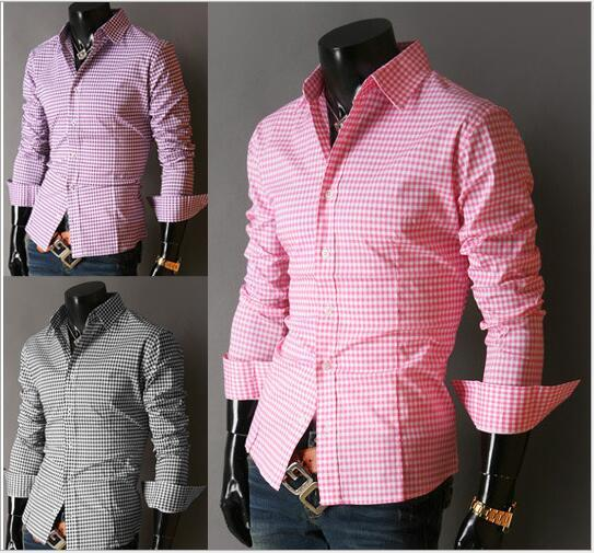 Best Quality New Fashion Men Cotton Grid Shirt Color Slim Cool ...