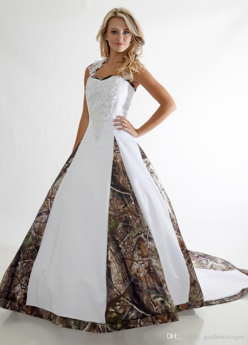 Plus Size Camo Wedding Dress Lace Straps Criss Cross Backless ...