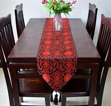 European Style Satin Dark Red Table Runner 13 X 77 Wedding Decoration Party  Christmas Decor Table Cloth Flag Supply Wholesale Table Linen Wholesale  Table ...
