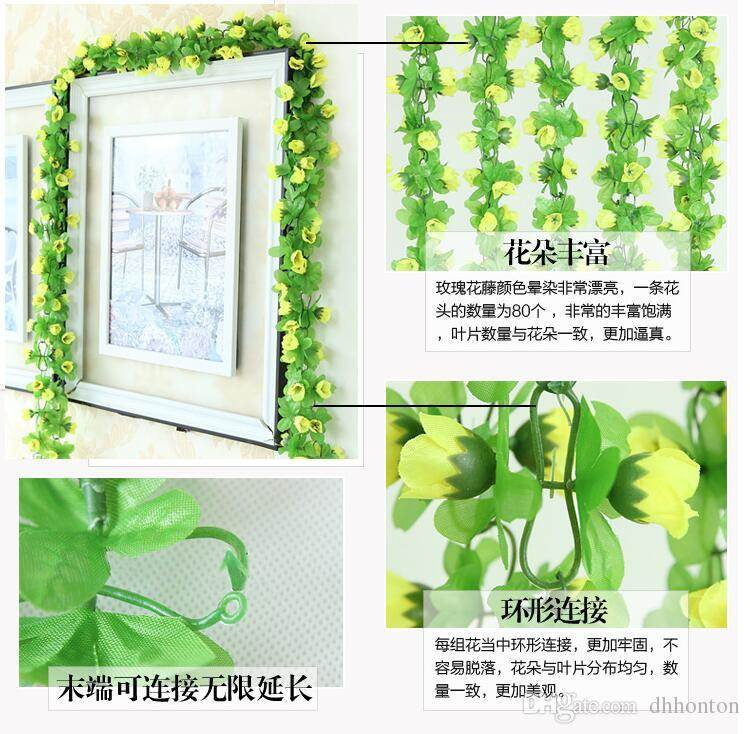 2.2m artificial rose flowers Wisteria Vine flower Rattan Silk Flower for air-condition channel Decoration Garland and Home Ornament HH04