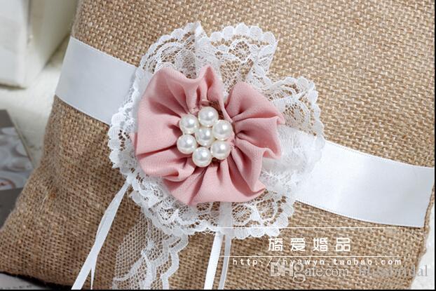 Hot Sell Cheap flaxen Ribbon Bridal Rings Pillows Garden Wedding Pearls Flower Ring Pillows