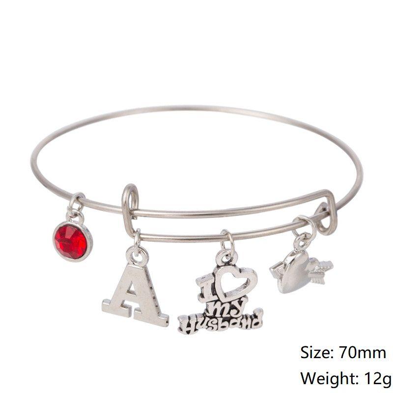 Myshape Cool Fashion Stainless Steel DIY Charms Bracelet Diameter 70mm I LOVE MY HUSBAND Red Crystal Pendant Bangle Wristbands