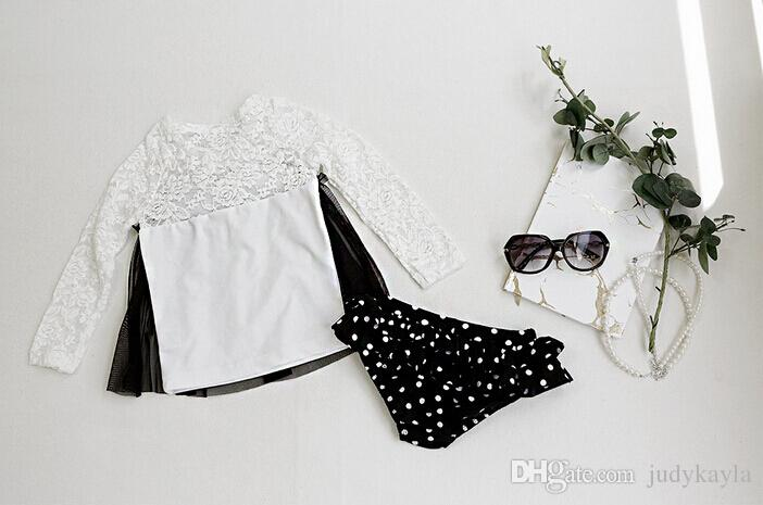 Hot Children Swimwear With Lace Big Flowers Dot Dot Kids Swimsuit With Cap Long Sleeve Set Sandbeach Clothes For Girls 100-140 T651