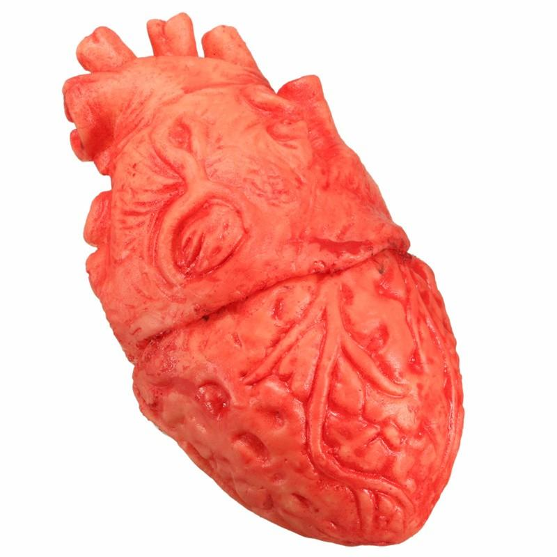 horror fake human heart halloween props latex bloody lifelike organs for party festival tricky spoof decoration performance - Discount Halloween Props